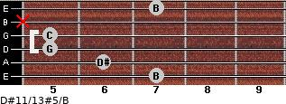D#11/13#5/B for guitar on frets 7, 6, 5, 5, x, 7