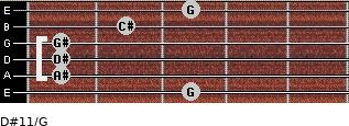 D#11/G for guitar on frets 3, 1, 1, 1, 2, 3