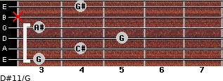 D#11/G for guitar on frets 3, 4, 5, 3, x, 4