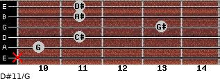 D#11/G for guitar on frets x, 10, 11, 13, 11, 11
