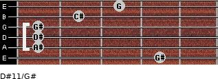 D#11/G# for guitar on frets 4, 1, 1, 1, 2, 3