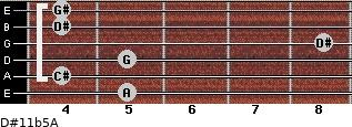 D#11b5/A for guitar on frets 5, 4, 5, 8, 4, 4