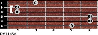 D#11b5/A for guitar on frets 5, 6, 6, 2, 2, 3