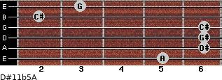 D#11b5/A for guitar on frets 5, 6, 6, 6, 2, 3