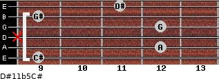D#11b5/C# for guitar on frets 9, 12, x, 12, 9, 11