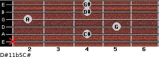 D#11b5/C# for guitar on frets x, 4, 5, 2, 4, 4