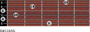 D#11b5/G for guitar on frets 3, 0, 1, 0, 2, 4