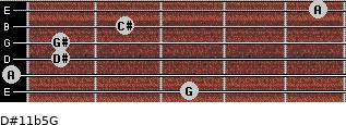 D#11b5/G for guitar on frets 3, 0, 1, 1, 2, 5