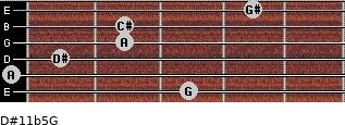 D#11b5/G for guitar on frets 3, 0, 1, 2, 2, 4