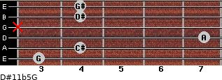 D#11b5/G for guitar on frets 3, 4, 7, x, 4, 4