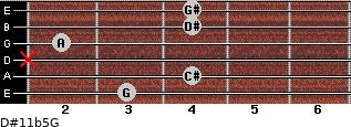 D#11b5/G for guitar on frets 3, 4, x, 2, 4, 4