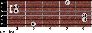 D#11b5/G for guitar on frets 3, 6, 6, 2, 2, 5