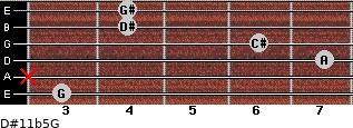 D#11b5/G for guitar on frets 3, x, 7, 6, 4, 4