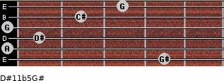 D#11b5/G# for guitar on frets 4, 0, 1, 0, 2, 3
