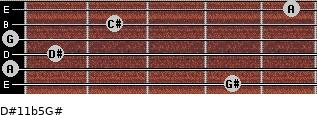 D#11b5/G# for guitar on frets 4, 0, 1, 0, 2, 5