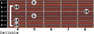 D#11b5/G# for guitar on frets 4, 4, 5, 8, 4, 5