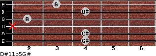 D#11b5/G# for guitar on frets 4, 4, x, 2, 4, 3