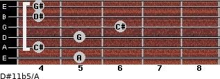 D#11b5/A for guitar on frets 5, 4, 5, 6, 4, 4