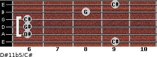 D#11b5/C# for guitar on frets 9, 6, 6, 6, 8, 9