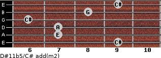 D#11b5/C# add(m2) for guitar on frets 9, 7, 7, 6, 8, 9
