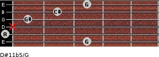 D#11b5/G for guitar on frets 3, 0, x, 1, 2, 3