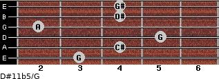 D#11b5/G for guitar on frets 3, 4, 5, 2, 4, 4