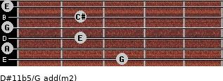D#11b5/G add(m2) for guitar on frets 3, 0, 2, 0, 2, 0