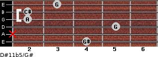 D#11b5/G# for guitar on frets 4, x, 5, 2, 2, 3