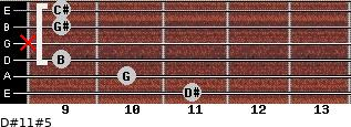 D#11#5 for guitar on frets 11, 10, 9, x, 9, 9
