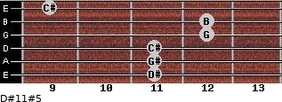 D#11#5 for guitar on frets 11, 11, 11, 12, 12, 9