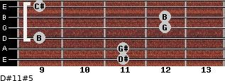 D#11#5 for guitar on frets 11, 11, 9, 12, 12, 9