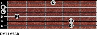 D#11#5/Ab for guitar on frets 4, 4, 1, 0, 0, 3