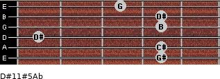 D#11#5/Ab for guitar on frets 4, 4, 1, 4, 4, 3