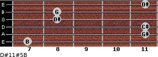 D#11#5/B for guitar on frets 7, 11, 11, 8, 8, 11
