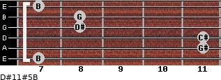 D#11#5/B for guitar on frets 7, 11, 11, 8, 8, 7