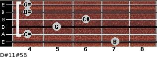 D#11#5/B for guitar on frets 7, 4, 5, 6, 4, 4