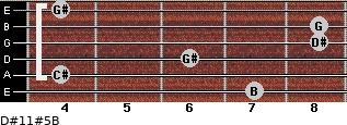 D#11#5/B for guitar on frets 7, 4, 6, 8, 8, 4