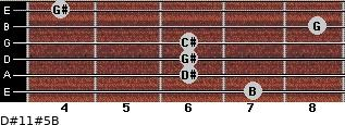 D#11#5/B for guitar on frets 7, 6, 6, 6, 8, 4