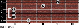 D#11#5/B for guitar on frets 7, 6, 6, 6, 8, 9