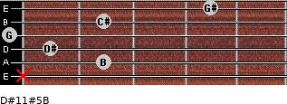 D#11#5/B for guitar on frets x, 2, 1, 0, 2, 4
