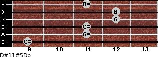 D#11#5/Db for guitar on frets 9, 11, 11, 12, 12, 11