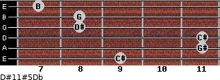 D#11#5/Db for guitar on frets 9, 11, 11, 8, 8, 7