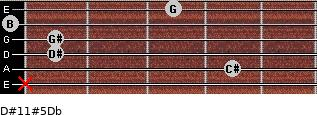 D#11#5/Db for guitar on frets x, 4, 1, 1, 0, 3