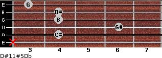 D#11#5/Db for guitar on frets x, 4, 6, 4, 4, 3