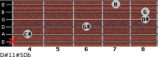 D#11#5/Db for guitar on frets x, 4, 6, 8, 8, 7