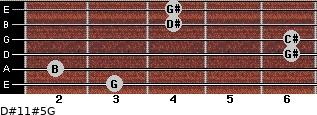 D#11#5/G for guitar on frets 3, 2, 6, 6, 4, 4