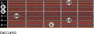 D#11#5/G for guitar on frets 3, 4, 1, 0, 0, 4