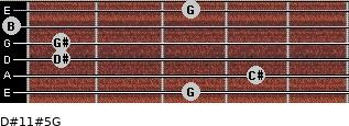 D#11#5/G for guitar on frets 3, 4, 1, 1, 0, 3