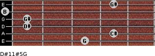 D#11#5/G for guitar on frets 3, 4, 1, 1, 0, 4