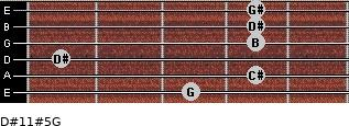 D#11#5/G for guitar on frets 3, 4, 1, 4, 4, 4